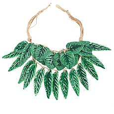 "Rara Avis by Iris Apfel Palm Leaf Painted Paper 20"" Bib Necklace"