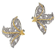 Rara Avis by Iris Apfel Two-Tone Crystal Leaf Stud Earrings