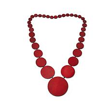 "Rara Avis by Iris Apfel Wood Disc 31"" Long Necklace"