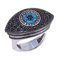 Rarities 0.97ctw Apatite & Black Spinel Evil Eye Ring