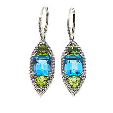 Rarities 14.46ct Blue Topaz, Peridot and Gem Marquise Dangle Earrings