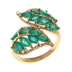 Rarities 14K Gold Gemstone Leaf Bypass Ring