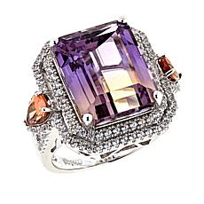 Rarities 15.03ctw Ametrine and Gem Sterling Silver Double Halo Ring