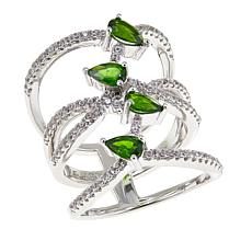 Rarities 1.62ctw Chrome Diopside & White Zircon Negative Space Ring