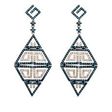 Rarities 1.99ctw Blue/White Diamond Geometric Earrings