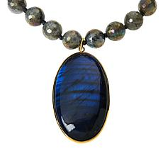 """Rarities 20"""" Gold-Plated Gemstone Faceted Bead Drop Necklace"""