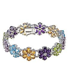 "Rarities 23.64ctw Gemstone Flower 7-1/4"" Bracelet"