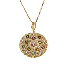 "Rarities 2.43ctw Multicolored Gem Flower Pendant with 16"" or 18"" Chain"