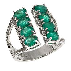 Rarities 2.8ctw Emerald and White Zircon Sterling Silver Ring