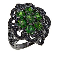 Rarities 3.06ctw Chrome Diopside and Black Spinel Geometric Ring