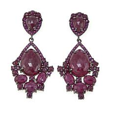 Rarities 34.02ctw Ruby Black Rhodium Drop Earrings