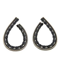 Rarities 3.84ctw Black Spinel Oval Hoop Earrings