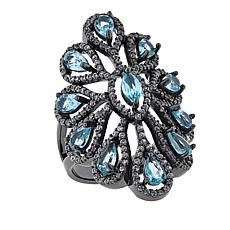 Rarities 3.89ctw Apatite and White Zircon Oval-Design Ring