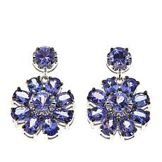 Rarities 3.96ctw Blue Tanzanite Sterling Silver Flower Drop Earrings