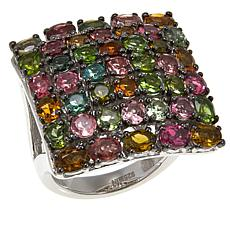 Rarities 4.48ctw Multicolored Tourmaline Sterling Silver Square Ring