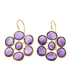 Rarities 46ctw Faceted Freeform Gem Floral-Design Earrings