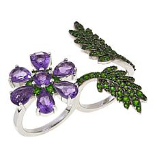Rarities 5.55ctw Amethyst and Chrome Diopside Double-Finger Ring