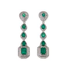 Rarities 6.2ctw Emerald and White Zircon Drop Earrings