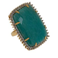 Rarities Amazonite and White Zircon Rectangular Ring