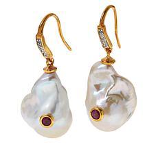 Rarities Baroque Cultured Pearl, White Zircon and Gem Drop Earrings
