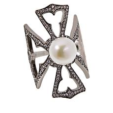 Rarities Black Rhodium Cultured Pearl and White Zircon Cross Ring