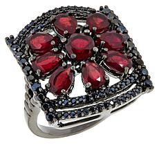 Rarities Black Rhodium Gemstone Flower and Black Spinel Ring