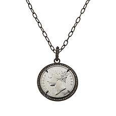 Rarities Black Rhodium-Plated .47ctw Champagne Diamond Coin Pendant