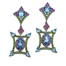 Rarities Black Rhodium Plated Multi-Gem Drop Earrings