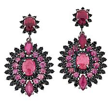 Rarities Black Rhodium Ruby and Black Spinel Round Drop Earrings