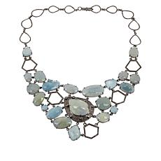 Rarities Blue Corundum, Beryl and Champagne Diamond Necklace