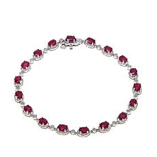 Rarities Burmese Ruby & White Zircon Sterling Bracelet
