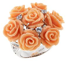 Rarities Carved Coral and White Zircon Rose Bouquet Ring