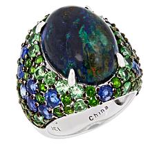 Rarities Domed Azurite Malachite, Chrome Diopside and Kyanite Ring
