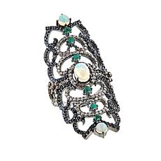 Rarities Ethiopian Opal and Gemstone Elongated Open Metalwork Ring