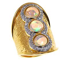 Rarities Ethiopian Opal & Zircon Wide Band Vermeil Ring