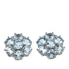 Rarities Gemstone and White Zircon Flower Stud Earrings