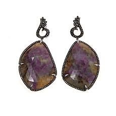 Rarities Glass-Filled Corundum & Diamond Drop Earrings