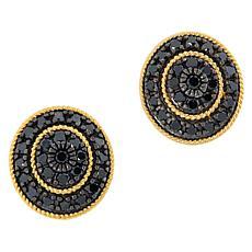 Rarities Gold-Plated 1.50ctw Black Diamond Oval Stud Earrings