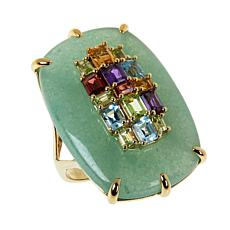 Rarities Gold-Plated Aventurine and Multi-Gem Ring