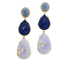 Rarities  Gold-Plated Blue Chalcedony and Gem Moon and Star Earrings