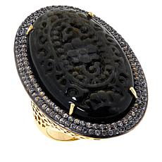 Rarities  Gold-Plated Carved Black Obsidian and White Zircon Ring