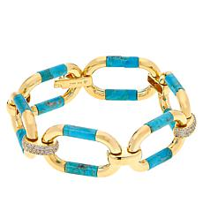 Rarities  Gold-Plated Gemstone Barrel and Pavé Link Bracelet