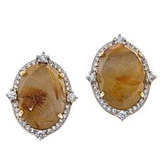 Rarities Gold-Plated Golden Rutilated Quartz and Zircon Stud Earrings