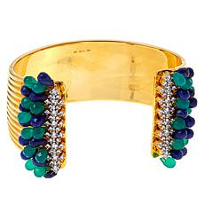 Rarities Gold-Plated Lapis and Chalcedony Briolette Multigem Cuff