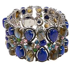 Rarities Gold-Plated Lapis and Multi-Gemstone Cluster Bracelet