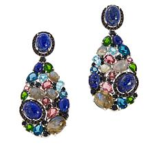 Rarities Gold-Plated Lapis and Multi-Gemstone Cluster Drop Earrings