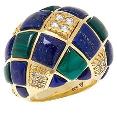 Rarities Gold-Plated Malachite, Lapis and White Zircon Dome Ring