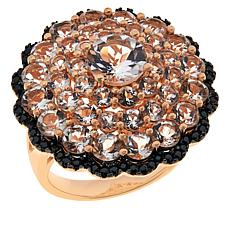Rarities Gold-Plated Morganite and Black Spinel Floral Ring
