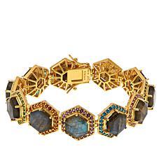 "Rarities Gold-Plated Multi-Gemstone 7"" Hexagon Line Bracelet"