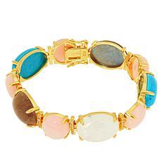 Rarities Gold-Plated Multi-Gemstone Cabochon Line Bracelet